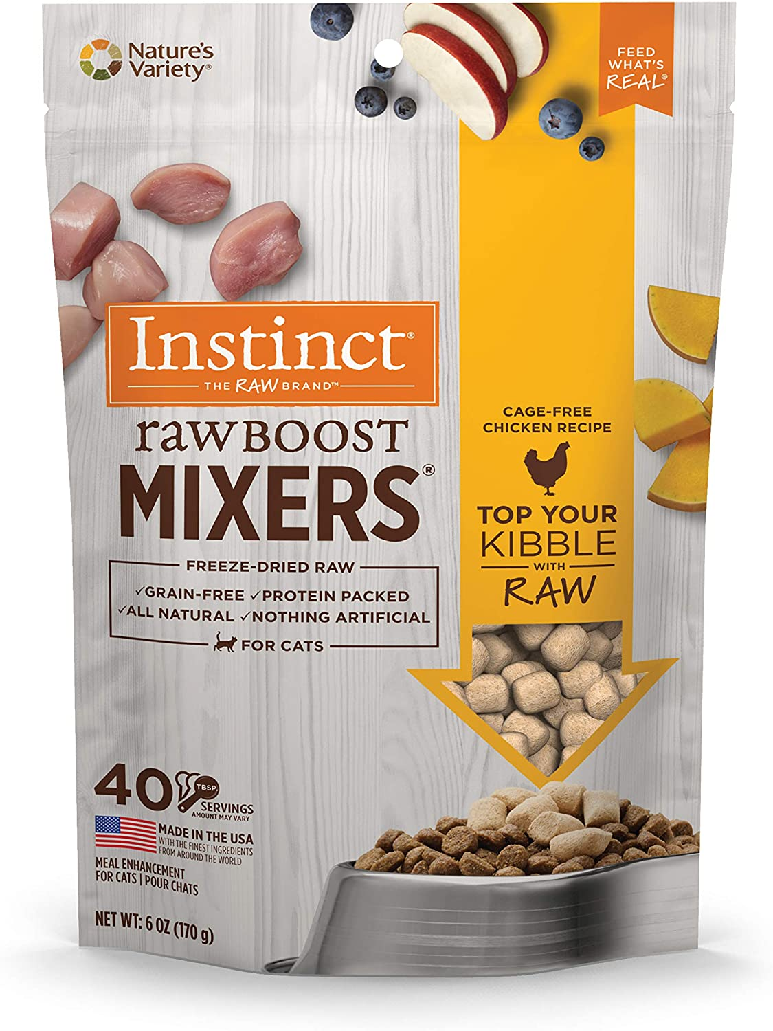 Instinct Raw Boost Mixers Chicken Recipe Grain-Free Freeze-Dried Cat Food Topper, 6-oz bag By Instinct